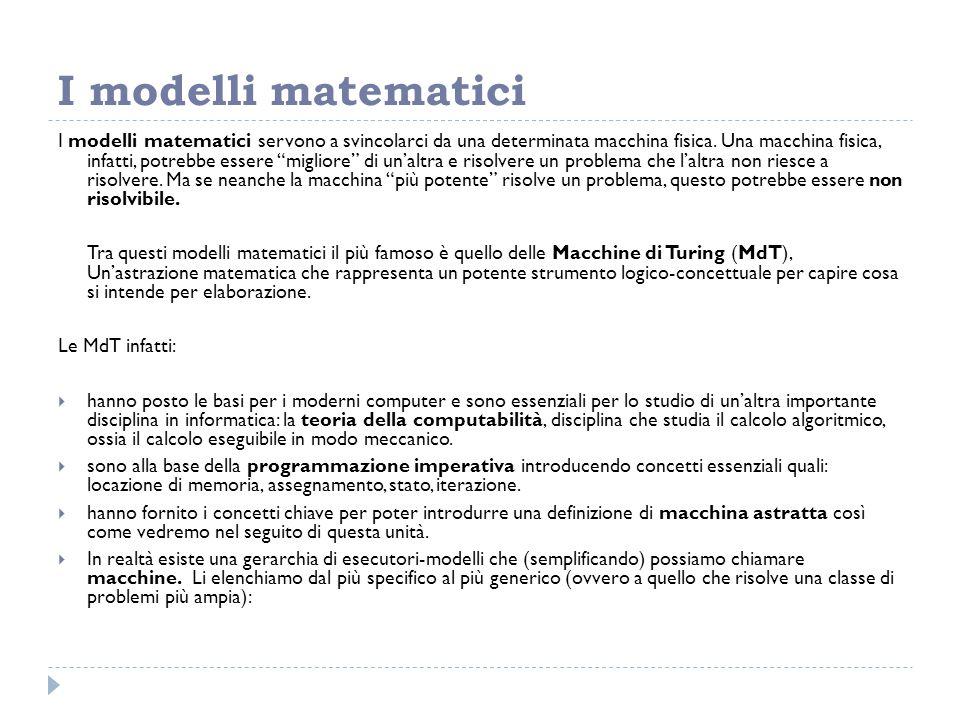 """I modelli matematici I modelli matematici servono a svincolarci da una determinata macchina fisica. Una macchina fisica, infatti, potrebbe essere """"mig"""