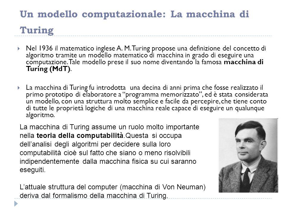 Un modello computazionale: La macchina di Turing  Nel 1936 il matematico inglese A. M. Turing propose una definizione del concetto di algoritmo trami