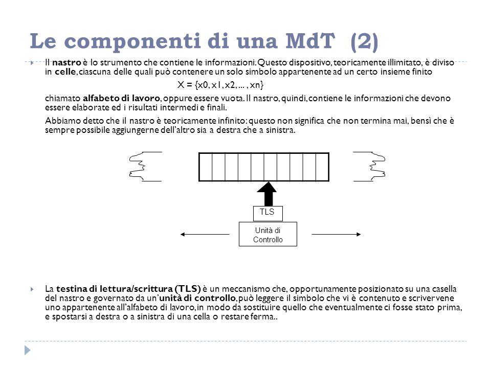 Le componenti di una MdT (2)  Il nastro è lo strumento che contiene le informazioni. Questo dispositivo, teoricamente illimitato, è diviso in celle,