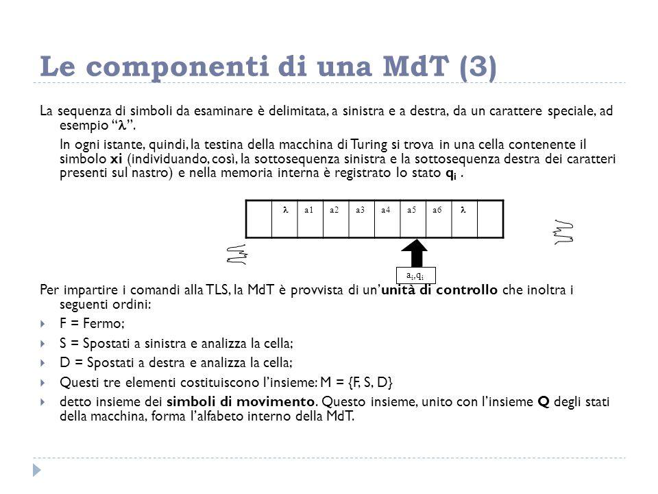"""Le componenti di una MdT (3) La sequenza di simboli da esaminare è delimitata, a sinistra e a destra, da un carattere speciale, ad esempio """" """". In ogn"""
