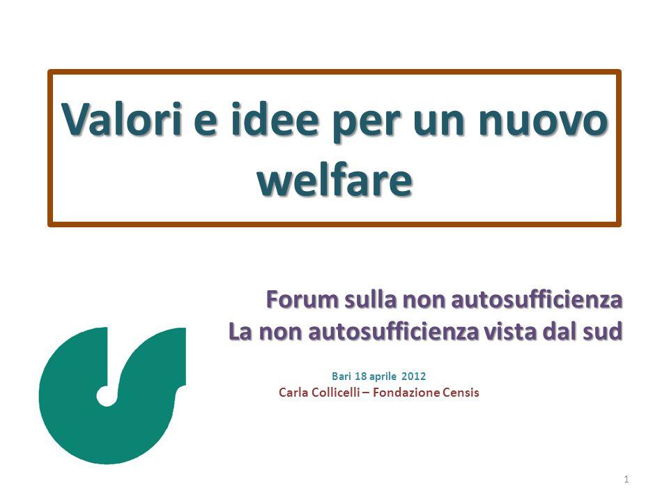 Valori e idee per un nuovo welfare Forum sulla non autosufficienza La non autosufficienza vista dal sud Bari 18 aprile 2012 Carla Collicelli – Fondazione Censis 1