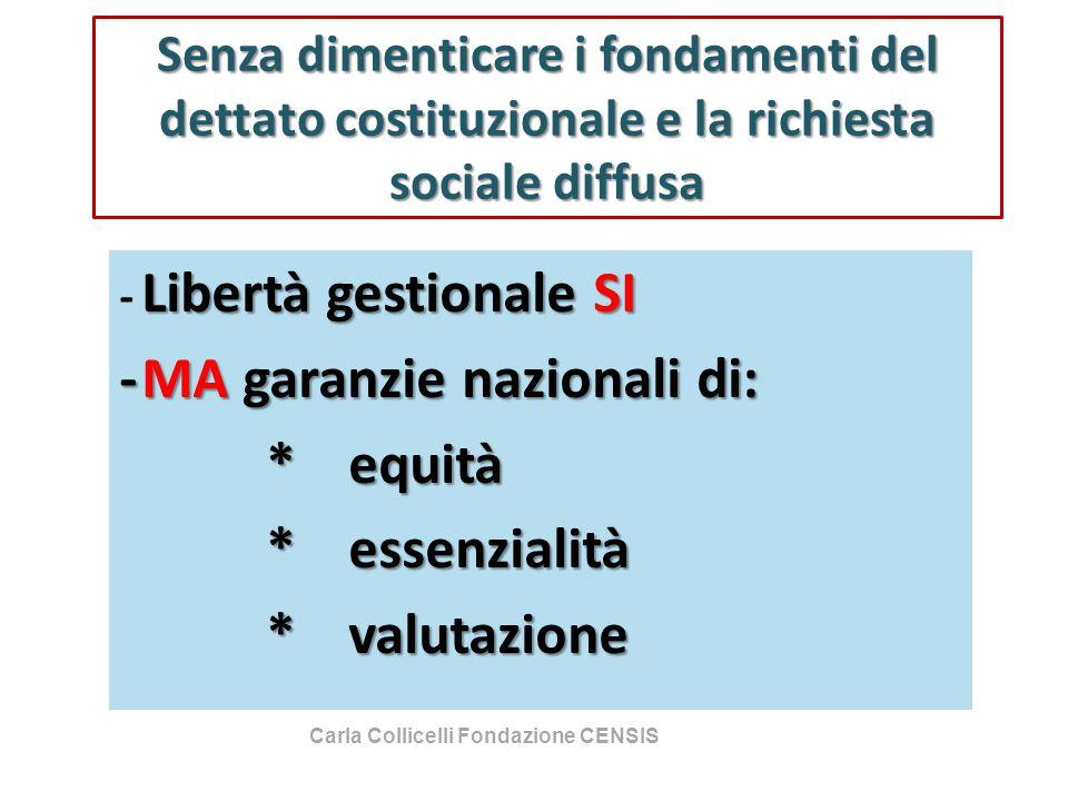 Senza dimenticare i fondamenti del dettato costituzionale e la richiesta sociale diffusa Libertà gestionale SI - Libertà gestionale SI -MA garanzie na