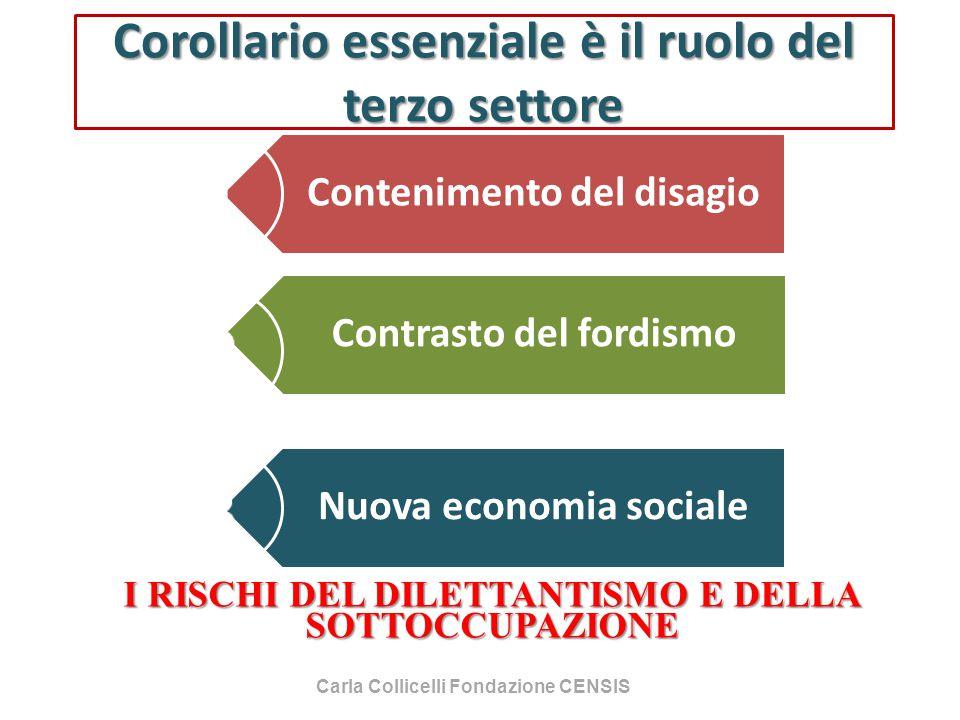 Corollario essenziale è il ruolo del terzo settore Contenimento del disagio Contrasto del fordismo Nuova economia sociale I RISCHI DEL DILETTANTISMO E