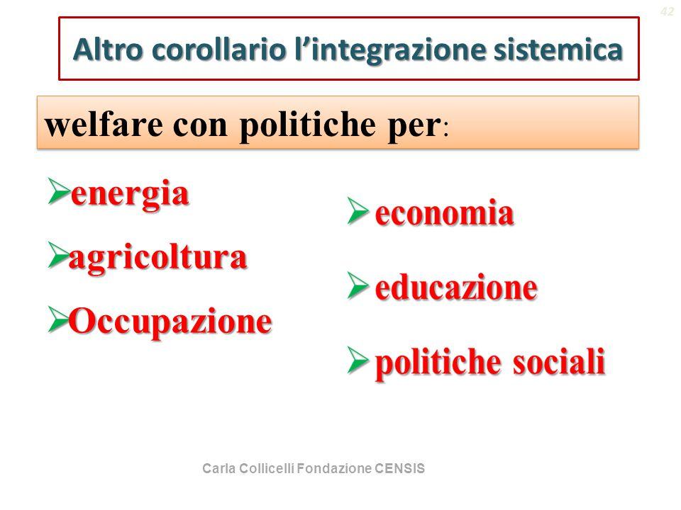 Altro corollario l'integrazione sistemica  energia  agricoltura  Occupazione welfare con politiche per : (Hancoch Trevor 1982) 42 Carla Collicelli Fondazione CENSIS