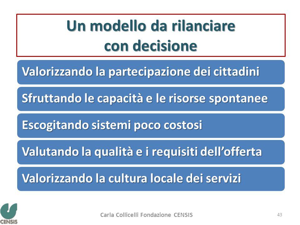 Un modello da rilanciare con decisione Valorizzando la partecipazione dei cittadini Sfruttando le capacità e le risorse spontanee Escogitando sistemi