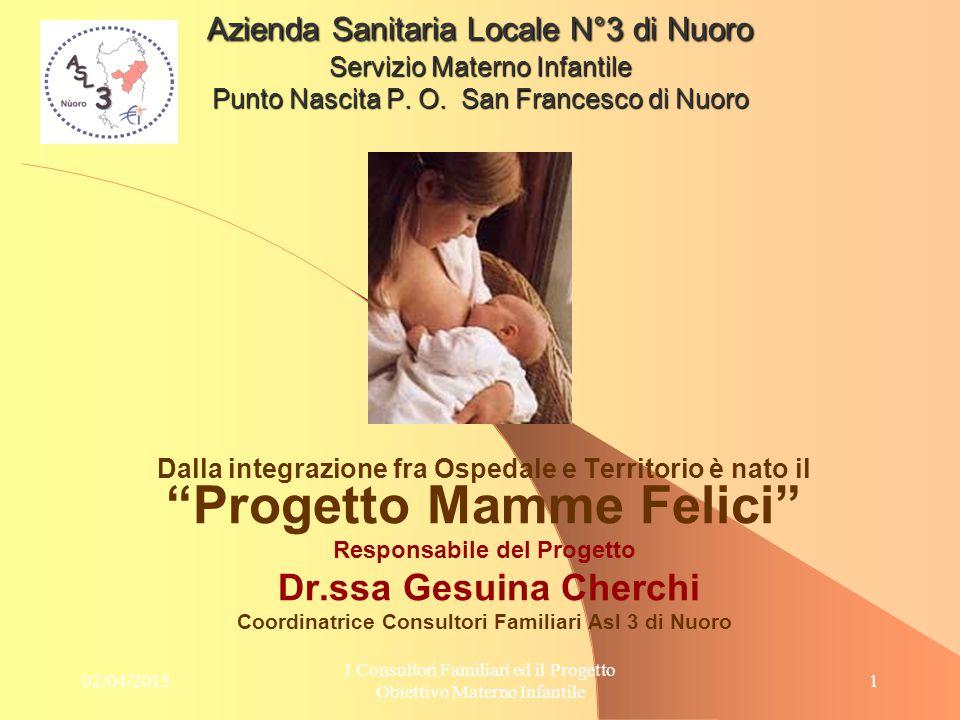 02/04/2015 I Consultori Familiari ed il Progetto Obiettivo Materno Infantile 12 Campione di 80 donne con p.>12 suddiviso fra zone interne e zone costiere