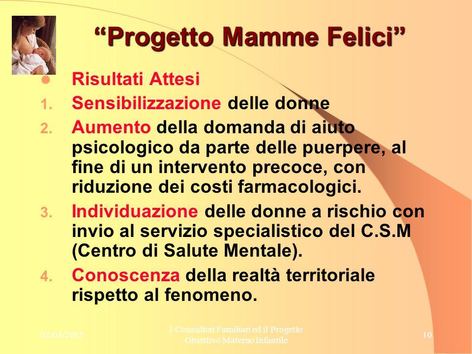 """02/04/2015 I Consultori Familiari ed il Progetto Obiettivo Materno Infantile 10 """"Progetto Mamme Felici"""" Risultati Attesi 1. Sensibilizzazione delle do"""