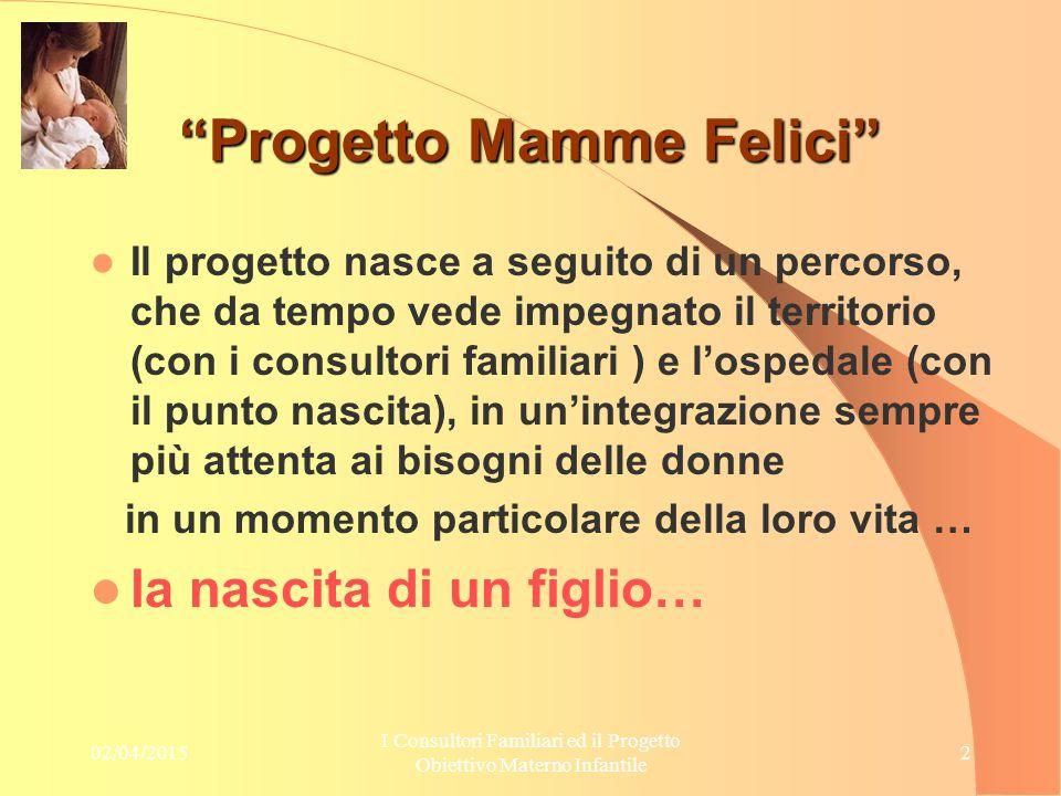 """02/04/2015 I Consultori Familiari ed il Progetto Obiettivo Materno Infantile 2 """"Progetto Mamme Felici"""" Il progetto nasce a seguito di un percorso, che"""