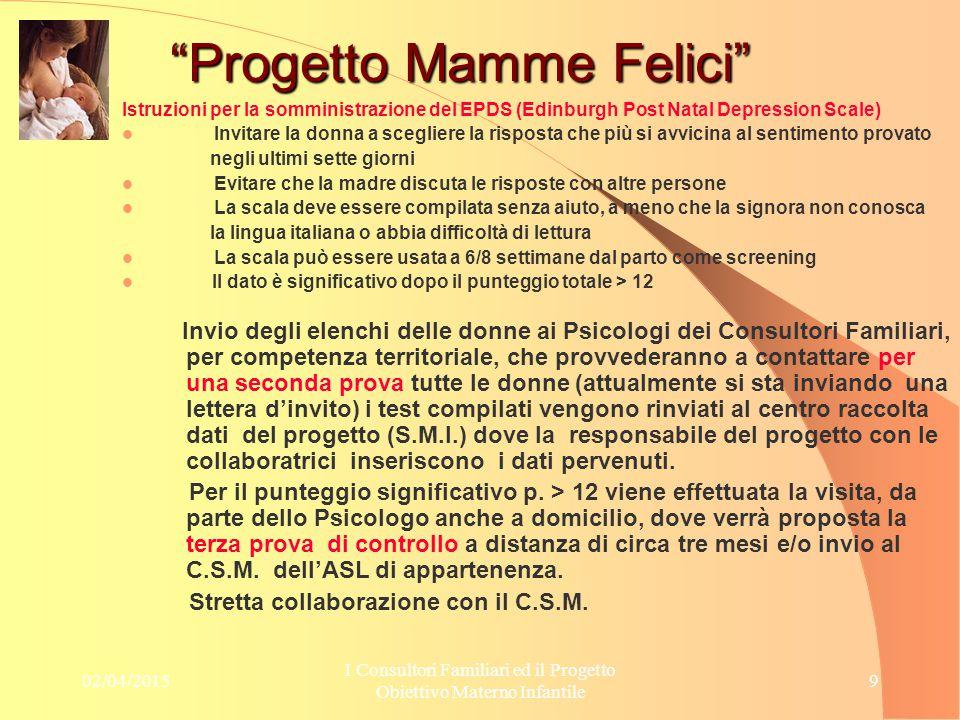 02/04/2015 I Consultori Familiari ed il Progetto Obiettivo Materno Infantile 10 Progetto Mamme Felici Risultati Attesi 1.