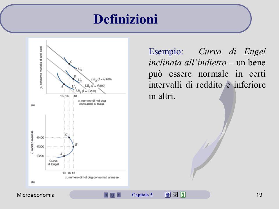 Microeconomia19 Esempio: Curva di Engel inclinata all'indietro – un bene può essere normale in certi intervalli di reddito e inferiore in altri.
