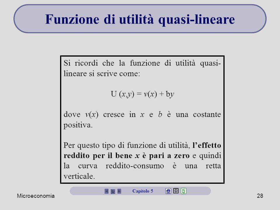 Microeconomia28 Funzione di utilità quasi-lineare Si ricordi che la funzione di utilità quasi- lineare si scrive come: U (x,y) = v(x) + by dove v(x) cresce in x e b è una costante positiva.