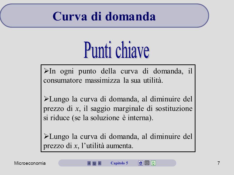 Microeconomia7  In ogni punto della curva di domanda, il consumatore massimizza la sua utilità.