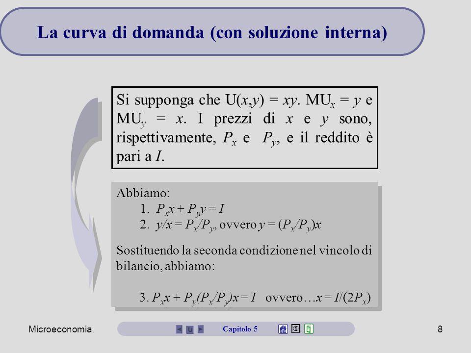 Microeconomia29 Surplus del consumatore La curva di domanda può essere vista come una curva della disponibilità a pagare del consumatore.