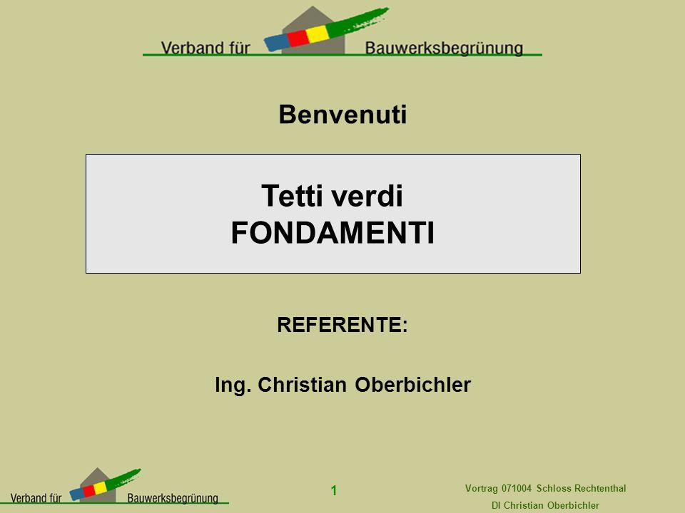 Vortrag 071004 Schloss Rechtenthal DI Christian Oberbichler 1 Benvenuti REFERENTE: Ing. Christian Oberbichler Tetti verdi FONDAMENTI