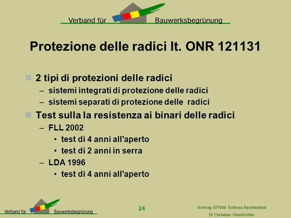Vortrag 071004 Schloss Rechtenthal DI Christian Oberbichler 24 Protezione delle radici lt. ONR 121131 2 tipi di protezioni delle radici –sistemi integ
