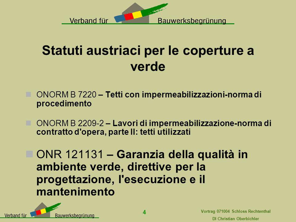 Vortrag 071004 Schloss Rechtenthal DI Christian Oberbichler 4 Statuti austriaci per le coperture a verde ONORM B 7220 – Tetti con impermeabilizzazioni
