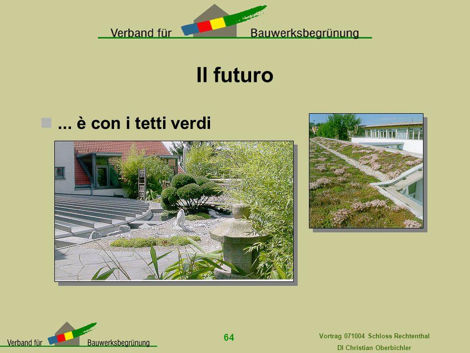 Vortrag 071004 Schloss Rechtenthal DI Christian Oberbichler 64 Il futuro... è con i tetti verdi