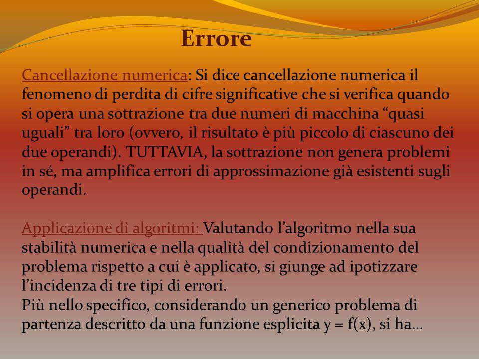 Errore Cancellazione numericaCancellazione numerica: Si dice cancellazione numerica il fenomeno di perdita di cifre significative che si verifica quan