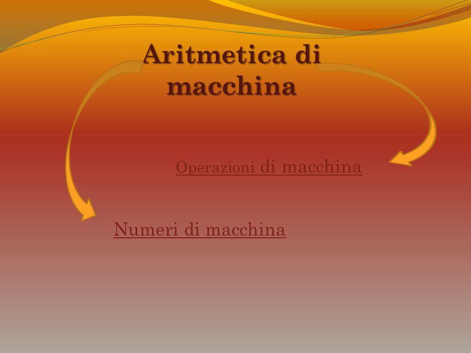 Aritmetica di macchina Numeri di macchina Operazioni di macchina