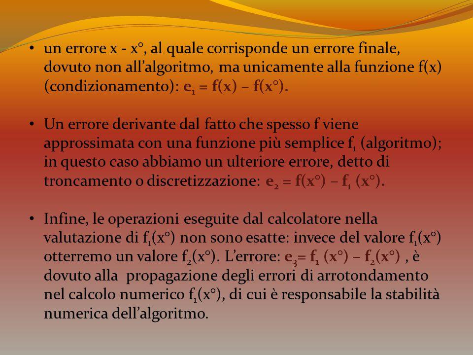 un errore x - x°, al quale corrisponde un errore finale, dovuto non all'algoritmo, ma unicamente alla funzione f(x) (condizionamento): e 1 = f(x) – f(
