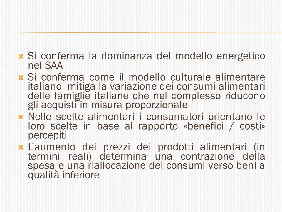  Si conferma la dominanza del modello energetico nel SAA  Si conferma come il modello culturale alimentare italiano mitiga la variazione dei consumi