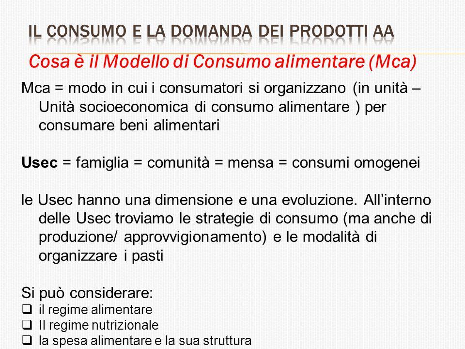 Cosa è il Modello di Consumo alimentare (Mca) Mca = modo in cui i consumatori si organizzano (in unità – Unità socioeconomica di consumo alimentare )