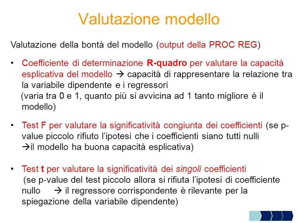 Valutazione modello Valutazione della bontà del modello (output della PROC REG) Coefficiente di determinazione R-quadro per valutare la capacità esplicativa del modello  capacità di rappresentare la relazione tra la variabile dipendente e i regressori (varia tra 0 e 1, quanto più si avvicina ad 1 tanto migliore è il modello) Test F per valutare la significatività congiunta dei coefficienti (se p- value piccolo rifiuto l'ipotesi che i coefficienti siano tutti nulli  il modello ha buona capacità esplicativa) Test t per valutare la significatività dei singoli coefficienti (se p-value del test piccolo allora si rifiuta l'ipotesi di coefficiente nullo  il regressore corrispondente è rilevante per la spiegazione della variabile dipendente)