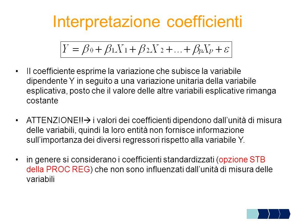Interpretazione coefficienti Il coefficiente esprime la variazione che subisce la variabile dipendente Y in seguito a una variazione unitaria della variabile esplicativa, posto che il valore delle altre variabili esplicative rimanga costante ATTENZIONE!.