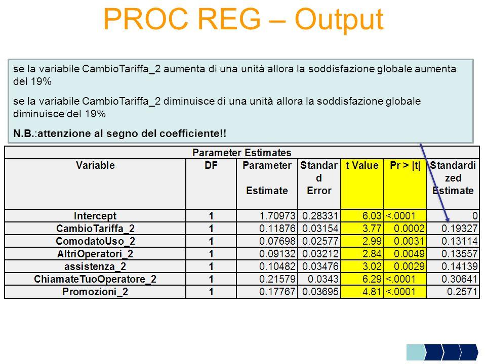 PROC REG – Output se la variabile CambioTariffa_2 aumenta di una unità allora la soddisfazione globale aumenta del 19% se la variabile CambioTariffa_2 diminuisce di una unità allora la soddisfazione globale diminuisce del 19% N.B.:attenzione al segno del coefficiente!!