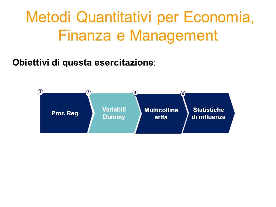 Metodi Quantitativi per Economia, Finanza e Management Obiettivi di questa esercitazione: Proc Reg 1 Variabili Dummy 2 Multicolline arità 3 Statistiche di influenza 4