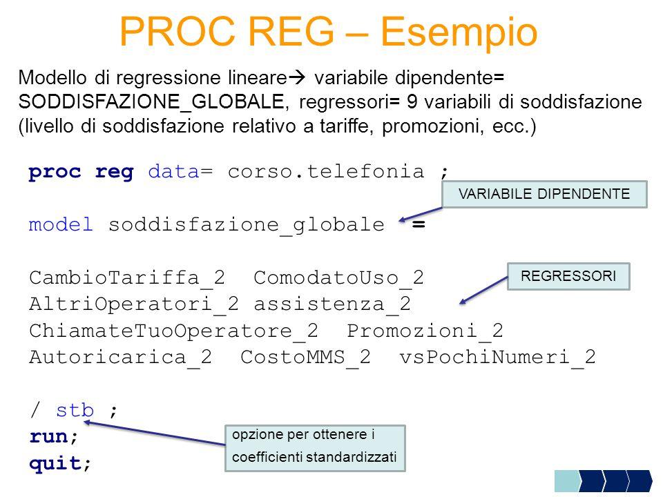 PROC REG – Esempio proc reg data= corso.telefonia ; model soddisfazione_globale = CambioTariffa_2 ComodatoUso_2 AltriOperatori_2 assistenza_2 ChiamateTuoOperatore_2 Promozioni_2 Autoricarica_2 CostoMMS_2 vsPochiNumeri_2 / stb ; run; quit; Modello di regressione lineare  variabile dipendente= SODDISFAZIONE_GLOBALE, regressori= 9 variabili di soddisfazione (livello di soddisfazione relativo a tariffe, promozioni, ecc.) REGRESSORI opzione per ottenere i coefficienti standardizzati VARIABILE DIPENDENTE