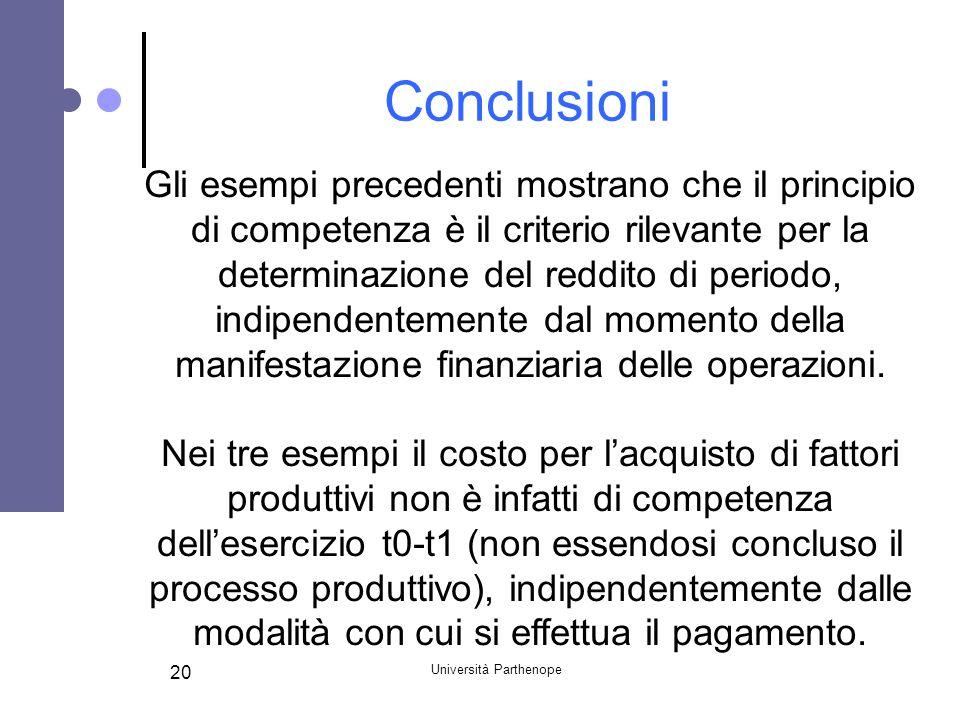 Università Parthenope 20 Conclusioni Gli esempi precedenti mostrano che il principio di competenza è il criterio rilevante per la determinazione del r