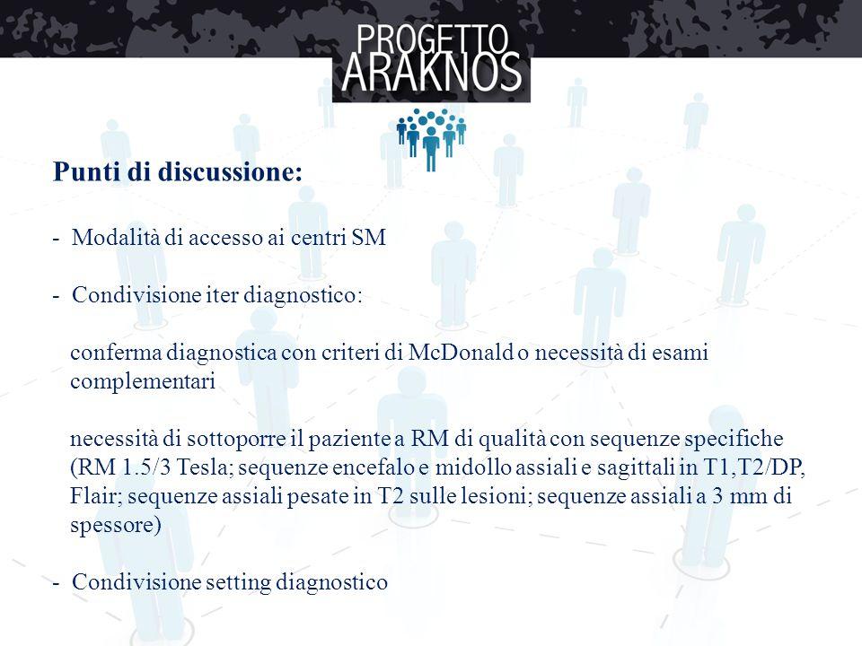 Punti di discussione: - Modalità di accesso ai centri SM - Condivisione iter diagnostico: conferma diagnostica con criteri di McDonald o necessità di