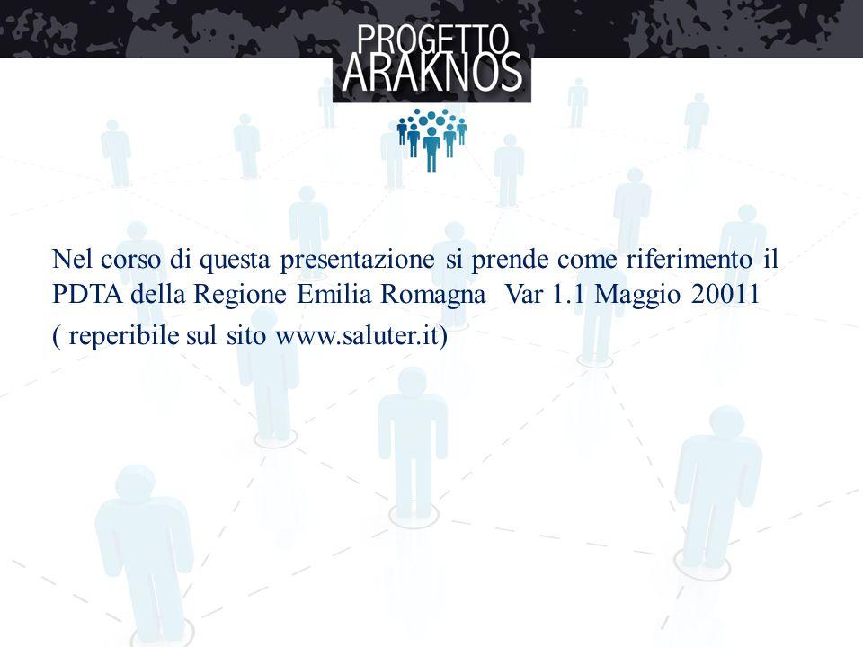Nel corso di questa presentazione si prende come riferimento il PDTA della Regione Emilia Romagna Var 1.1 Maggio 20011 ( reperibile sul sito www.salut