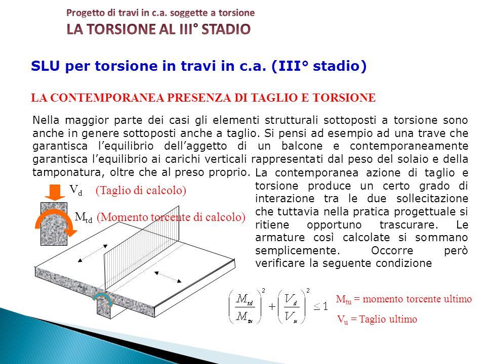 SLU per torsione in travi in c.a. (III° stadio) LA CONTEMPORANEA PRESENZA DI TAGLIO E TORSIONE Nella maggior parte dei casi gli elementi strutturali s
