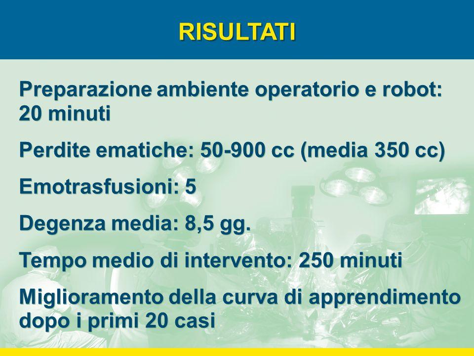 RISULTATI Preparazione ambiente operatorio e robot: 20 minuti Perdite ematiche: 50-900 cc (media 350 cc) Emotrasfusioni: 5 Degenza media: 8,5 gg. Temp
