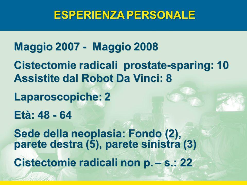 ESPERIENZA PERSONALE Maggio 2007 - Maggio 2008 Cistectomie radicali prostate-sparing: 10 Assistite dal Robot Da Vinci: 8 Laparoscopiche: 2 Età: 48 - 64 Sede della neoplasia: Fondo (2), parete destra (5), parete sinistra (3) Cistectomie radicali non p.