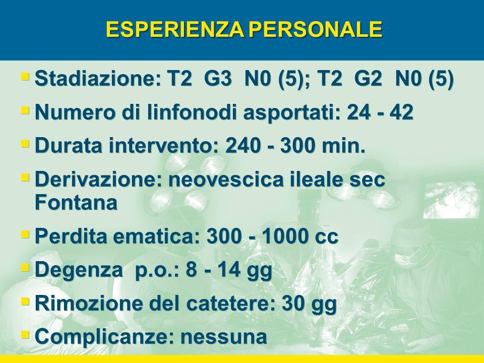 ESPERIENZA PERSONALE  Stadiazione: T2 G3 N0 (5); T2 G2 N0 (5)  Numero di linfonodi asportati: 24 - 42  Durata intervento: 240 - 300 min.  Derivazi