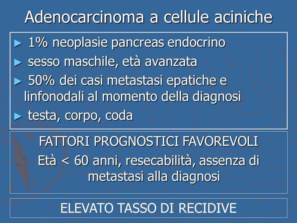 Adenocarcinoma a cellule aciniche ► 1% neoplasie pancreas endocrino ► sesso maschile, età avanzata ► 50% dei casi metastasi epatiche e linfonodali al