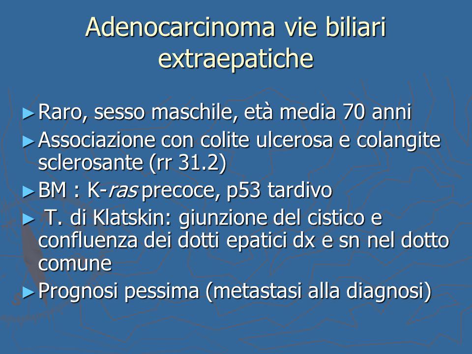Adenocarcinoma vie biliari extraepatiche ► Raro, sesso maschile, età media 70 anni ► Associazione con colite ulcerosa e colangite sclerosante (rr 31.2