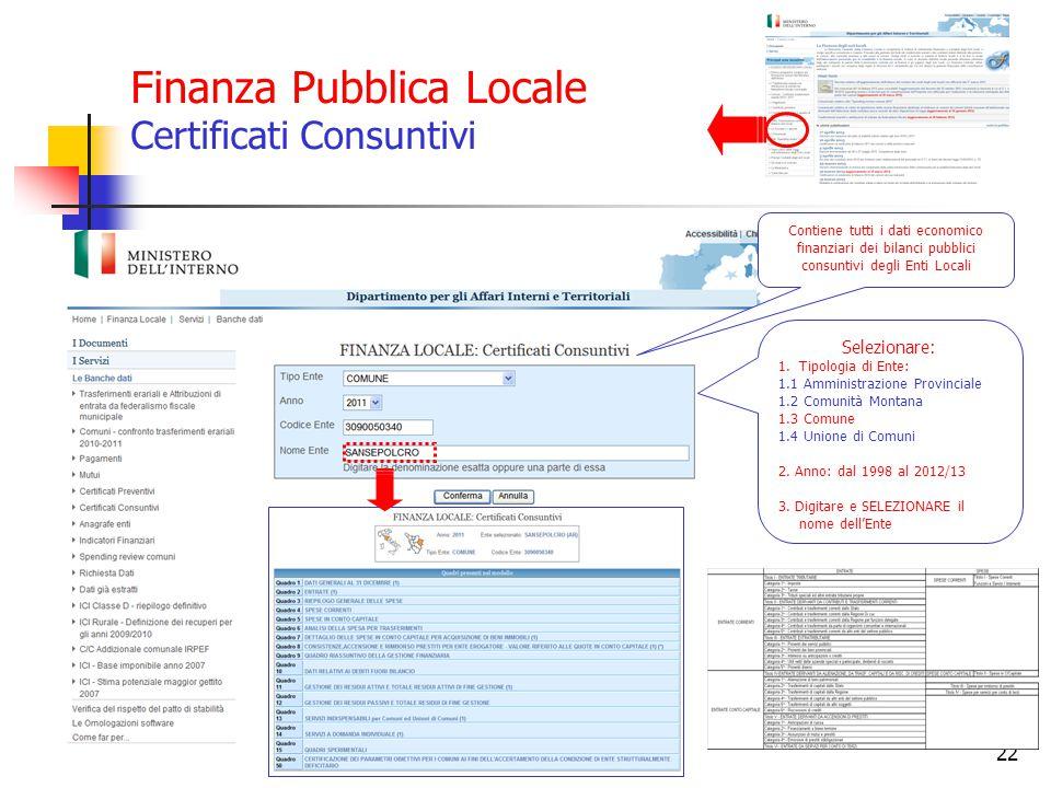 22 Contiene tutti i dati economico finanziari dei bilanci pubblici consuntivi degli Enti Locali Selezionare: 1.Tipologia di Ente: 1.1 Amministrazione
