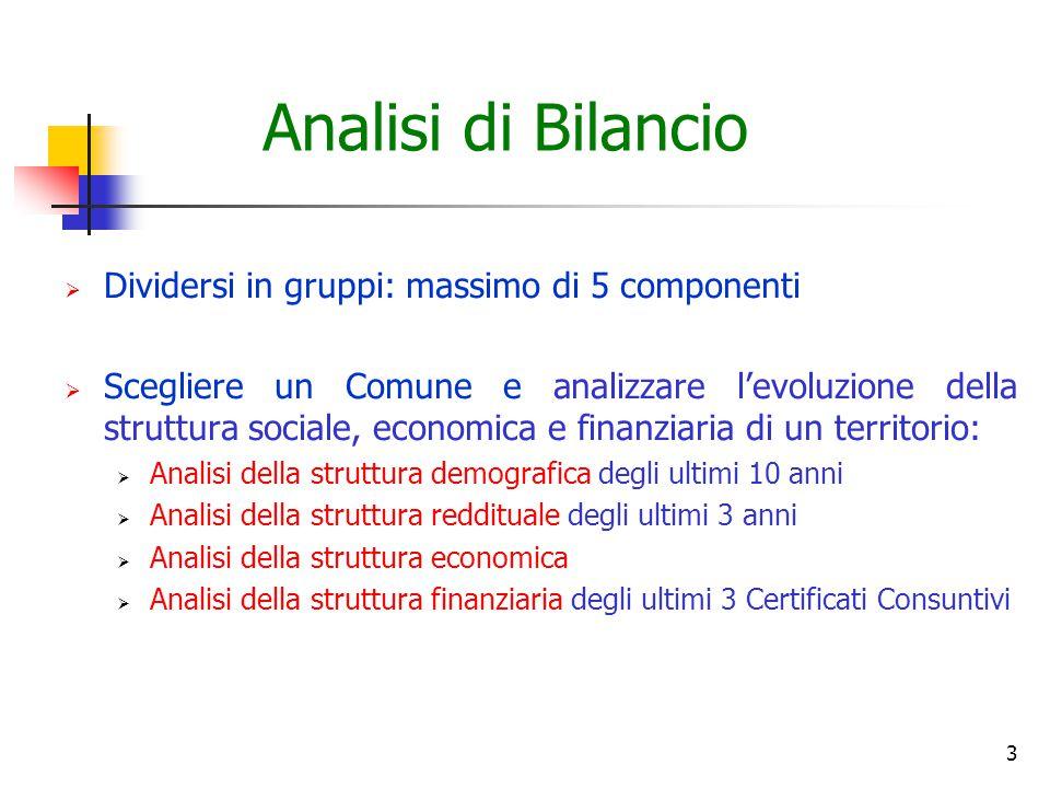 3 Analisi di Bilancio  Dividersi in gruppi: massimo di 5 componenti  Scegliere un Comune e analizzare l'evoluzione della struttura sociale, economic