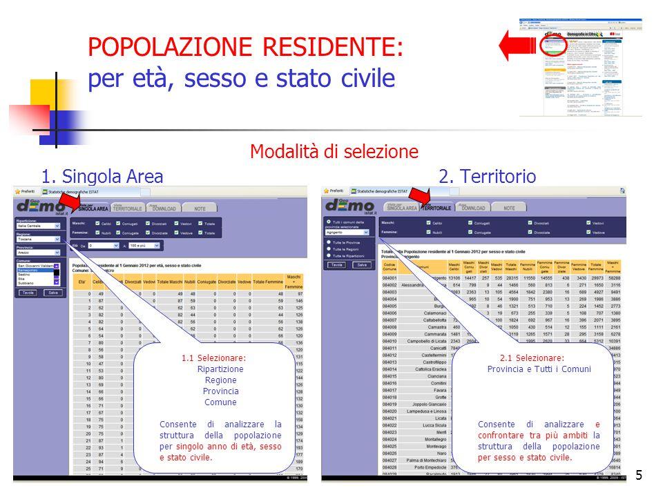 5 POPOLAZIONE RESIDENTE: per età, sesso e stato civile Modalità di selezione 1. Singola Area2. Territorio 1.1 Selezionare: Ripartizione Regione Provin