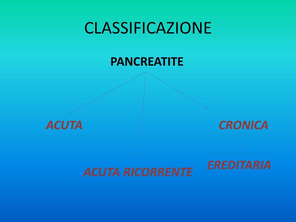 CLASSIFICAZIONE PANCREATITE ACUTA ACUTA RICORRENTE CRONICA EREDITARIA