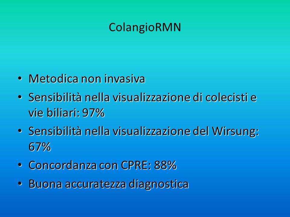 ColangioRMN Metodica non invasiva Metodica non invasiva Sensibilità nella visualizzazione di colecisti e vie biliari: 97% Sensibilità nella visualizzazione di colecisti e vie biliari: 97% Sensibilità nella visualizzazione del Wirsung: 67% Sensibilità nella visualizzazione del Wirsung: 67% Concordanza con CPRE: 88% Concordanza con CPRE: 88% Buona accuratezza diagnostica Buona accuratezza diagnostica