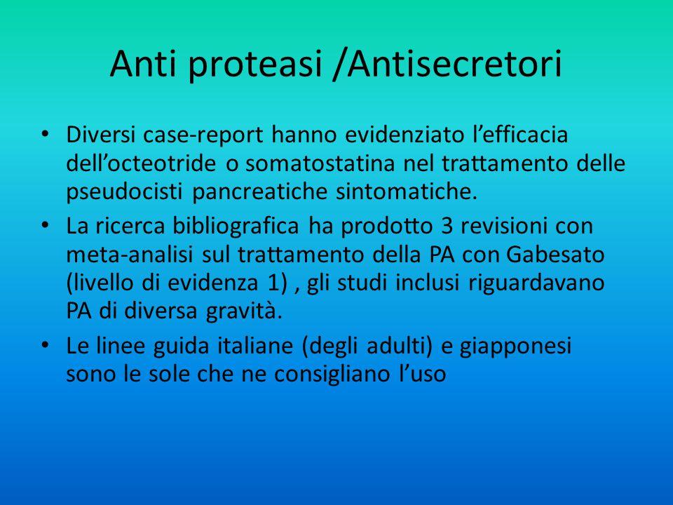 Anti proteasi /Antisecretori Diversi case-report hanno evidenziato l'efficacia dell'octeotride o somatostatina nel trattamento delle pseudocisti pancreatiche sintomatiche.