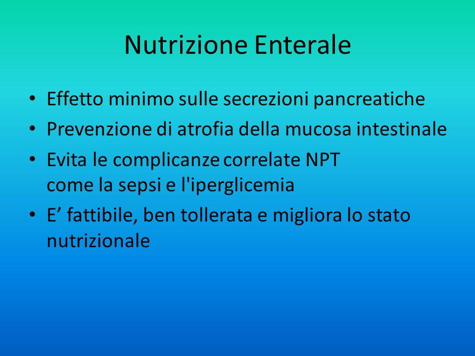 Nutrizione Enterale Effetto minimo sulle secrezioni pancreatiche Prevenzione di atrofia della mucosa intestinale Evita le complicanze correlate NPT come la sepsi e l iperglicemia E' fattibile, ben tollerata e migliora lo stato nutrizionale