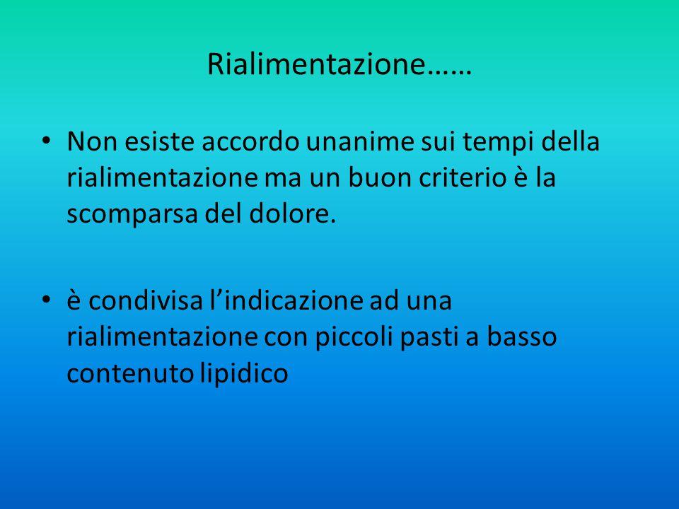 Rialimentazione…… Non esiste accordo unanime sui tempi della rialimentazione ma un buon criterio è la scomparsa del dolore.