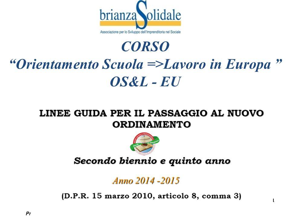 """1 Progetto """"Orientamento Scuola =>Lavoro in Europa"""" © by Brianza Solidale - Vietata la riproduzione CORSO """"Orientamento Scuola =>Lavoro in Europa """" OS"""