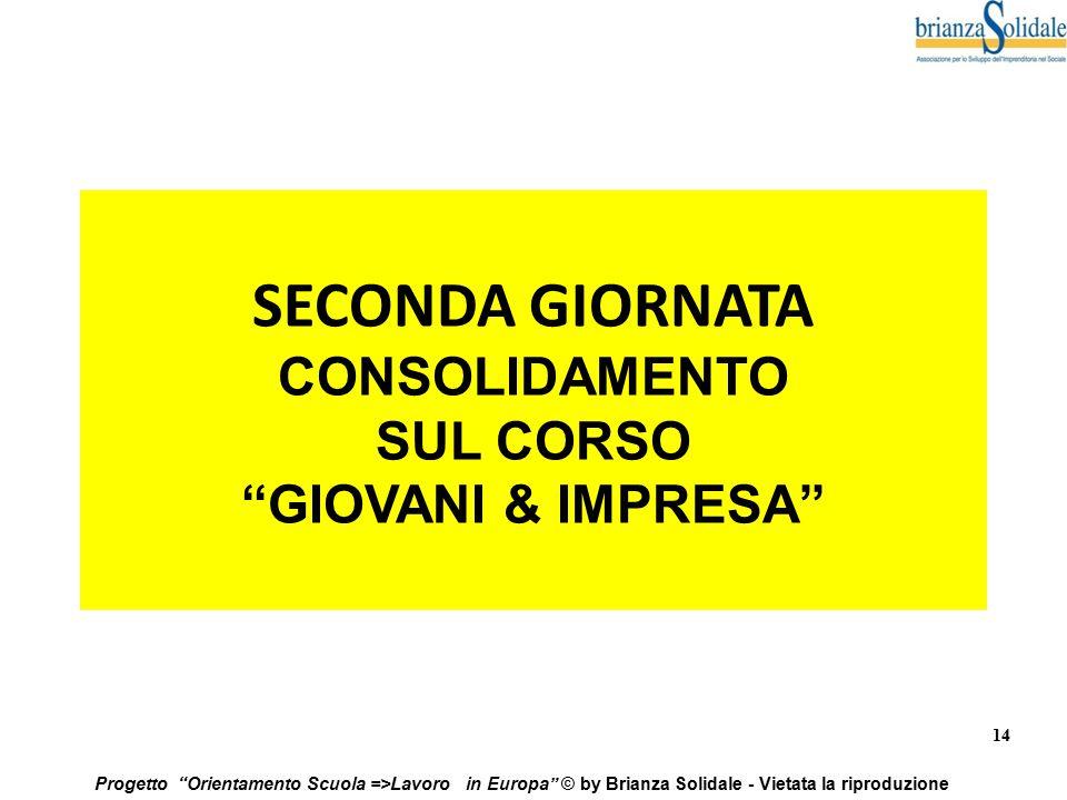 """14 Progetto """"Orientamento Scuola =>Lavoro in Europa"""" © by Brianza Solidale - Vietata la riproduzione SECONDA GIORNATA CONSOLIDAMENTO SUL CORSO """"GIOVAN"""